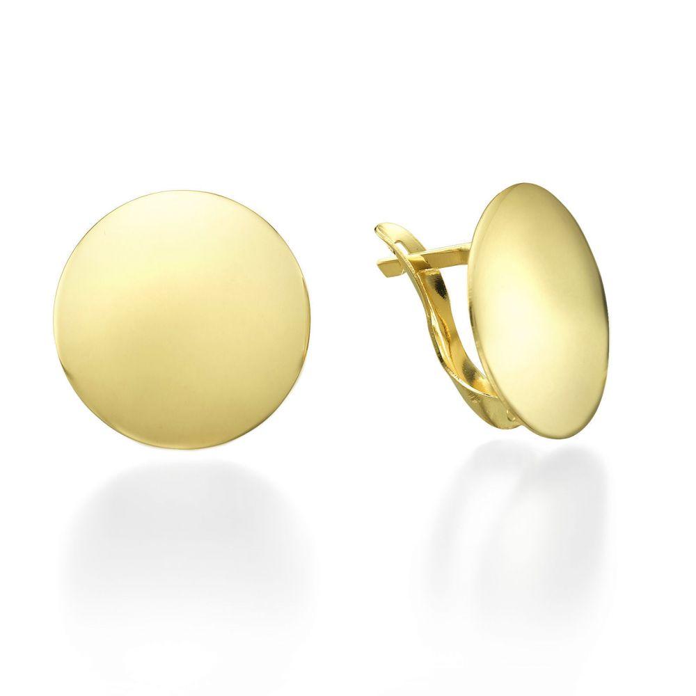 תכשיטי זהב לנשים | עגילי חישוק מזהב צהוב - סיכה