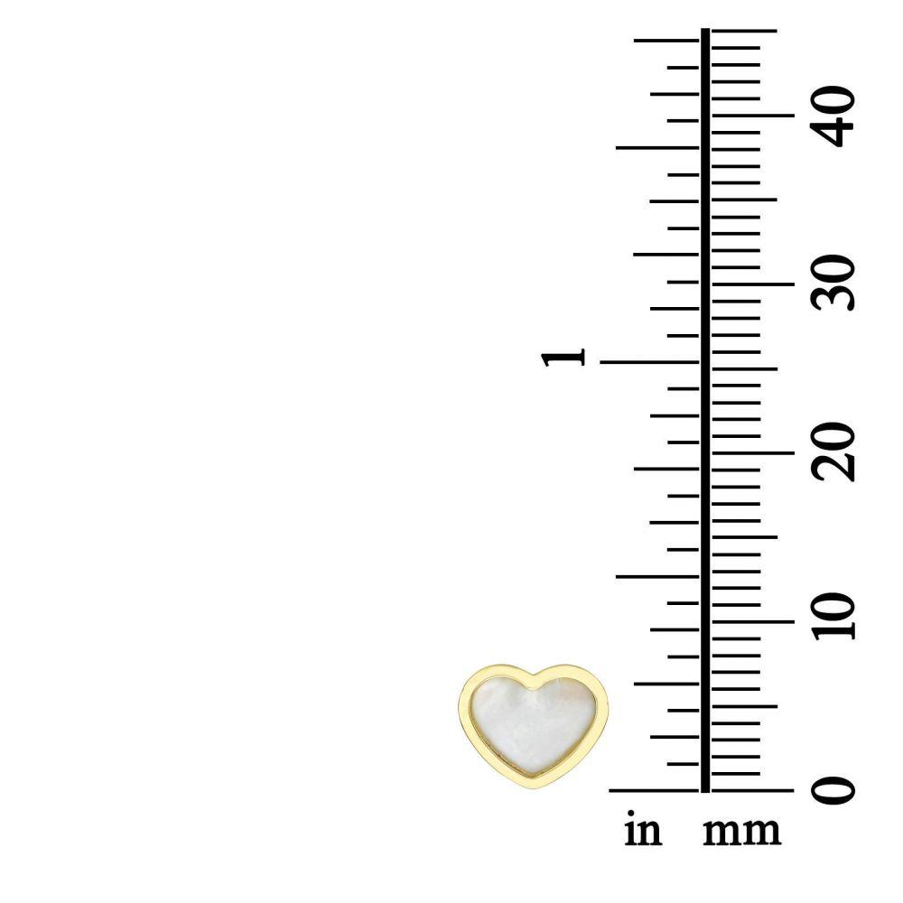 תכשיטים מזהב לילדות   עגילים צמודים מזהב צהוב - לב הצדף