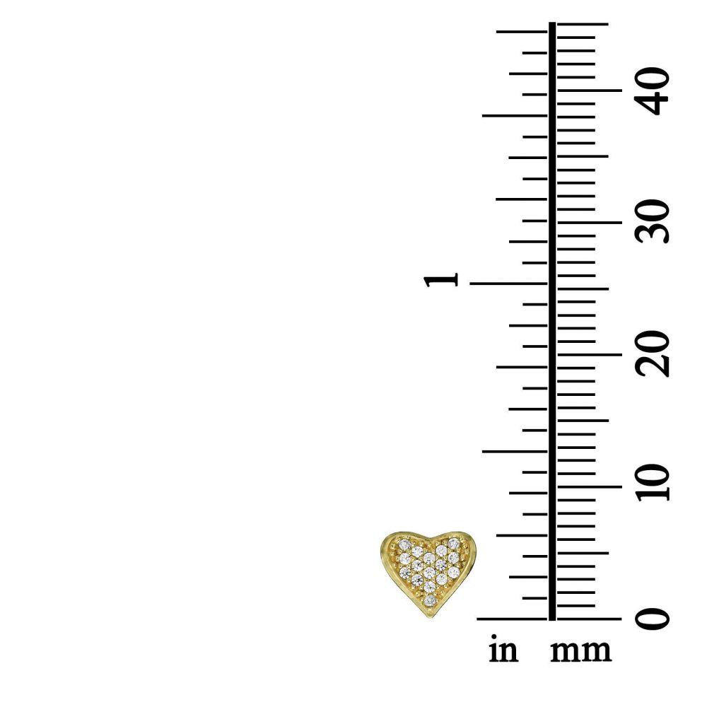 תכשיטים מזהב לילדות | עגילים צמודים מזהב צהוב - לב מאוהב