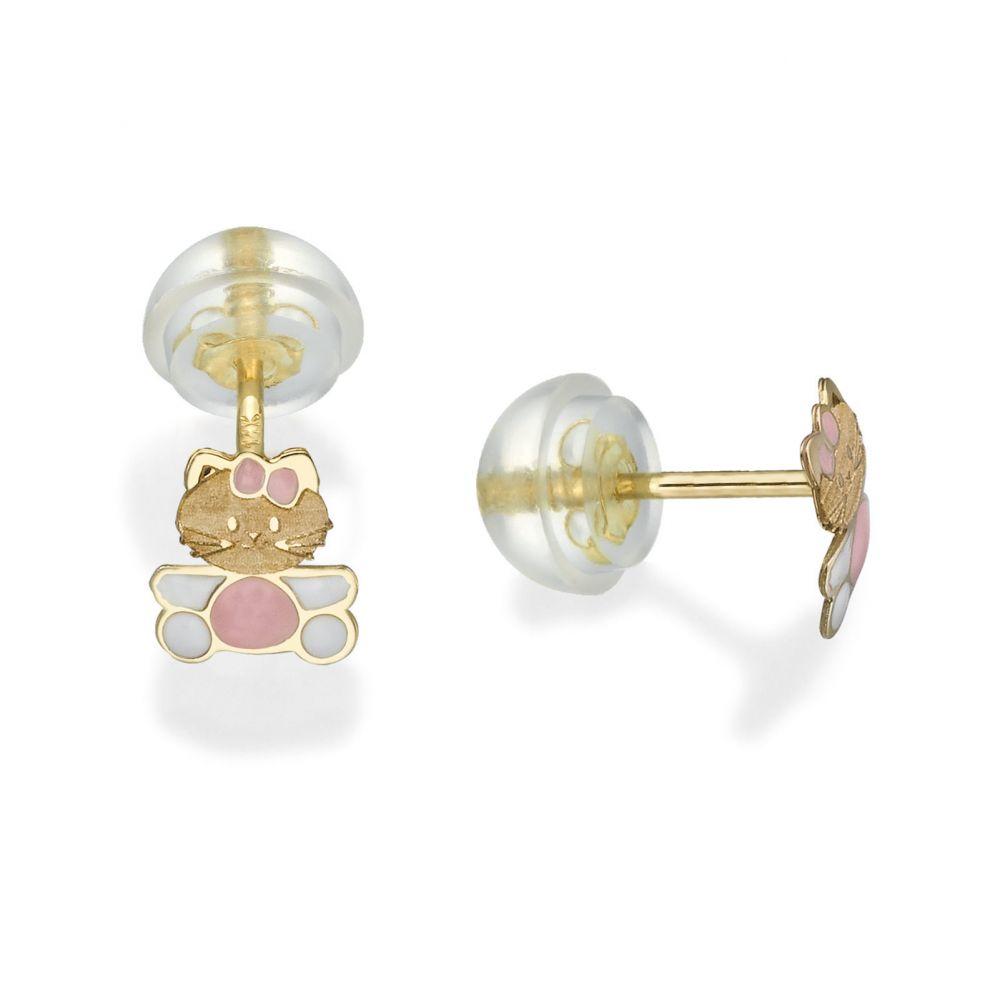 תכשיטים מזהב לילדות | עגילי זהב צמודים -  חתולה מקסימה