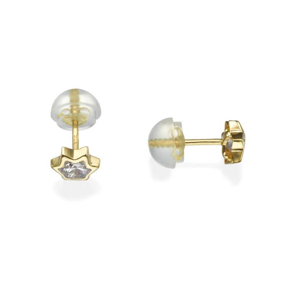 תכשיטים מזהב לילדות | עגילי זהב צמודים -  כוכב מנצנץ