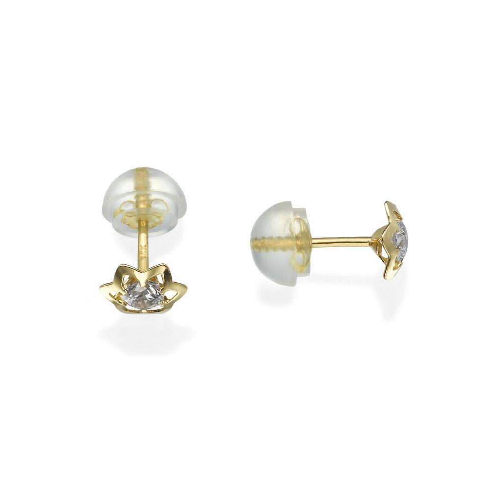 תכשיטים מזהב לילדות | עגילי זהב צמודים -  כוכב יוקרתי