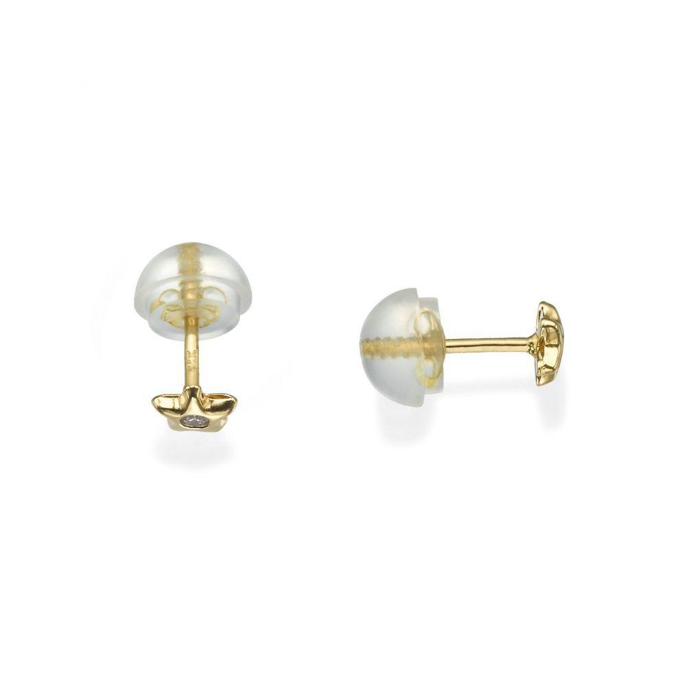 תכשיטים מזהב לילדות   עגילי זהב צמודים -  כוכב נילי