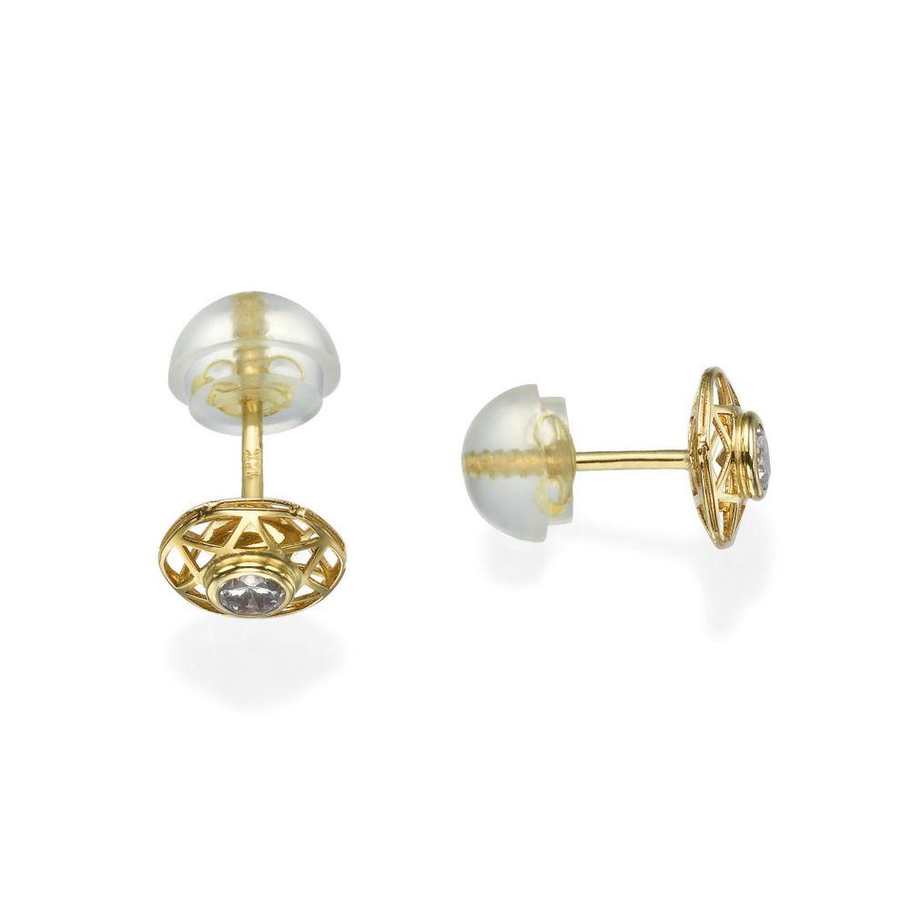 תכשיטים מזהב לילדות | עגילי זהב צמודים -  כוכב מנצנץ-ממוסגר