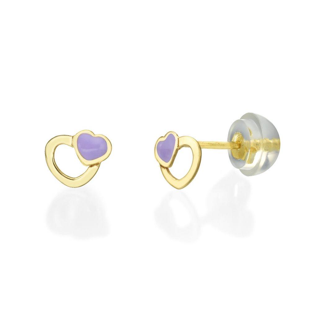 תכשיטים מזהב לילדות | עגילי זהב צמודים -  לבבות משמחים