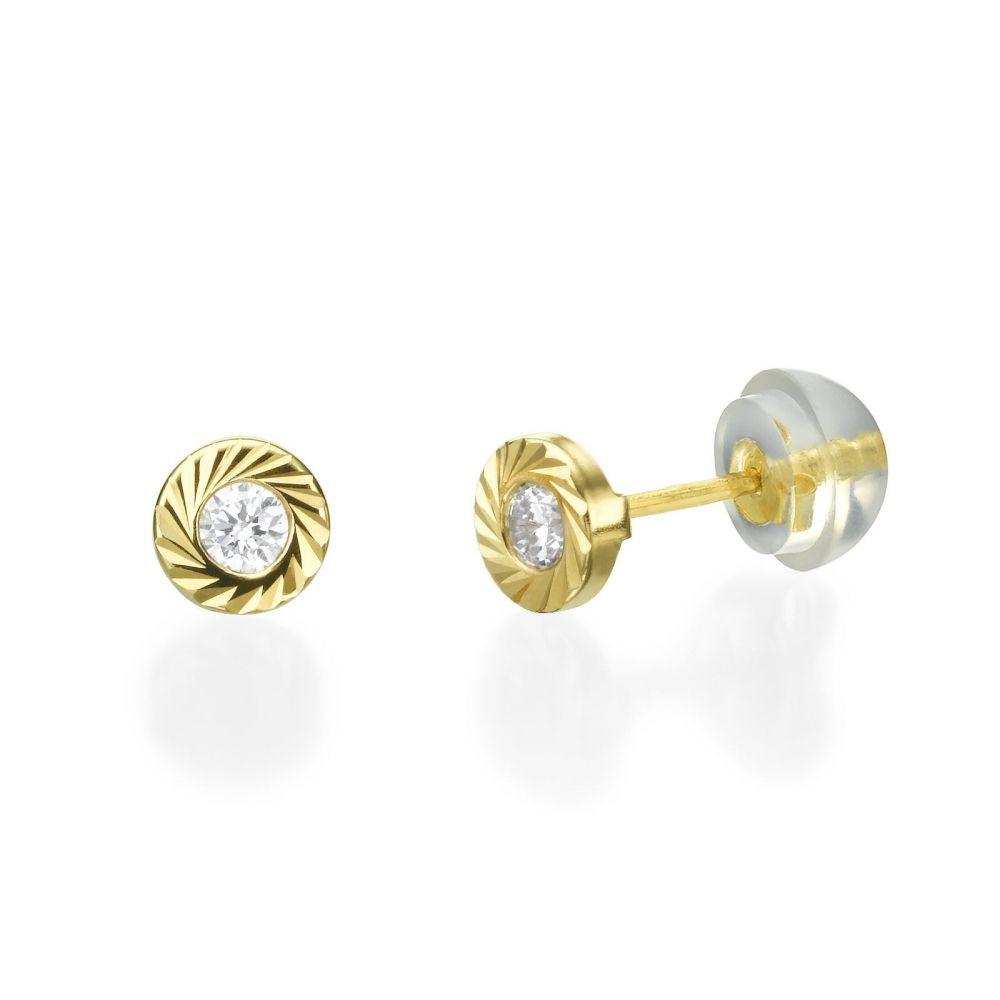 תכשיטים מזהב לילדות | עגילי זהב צמודים -  עיגול קטיה