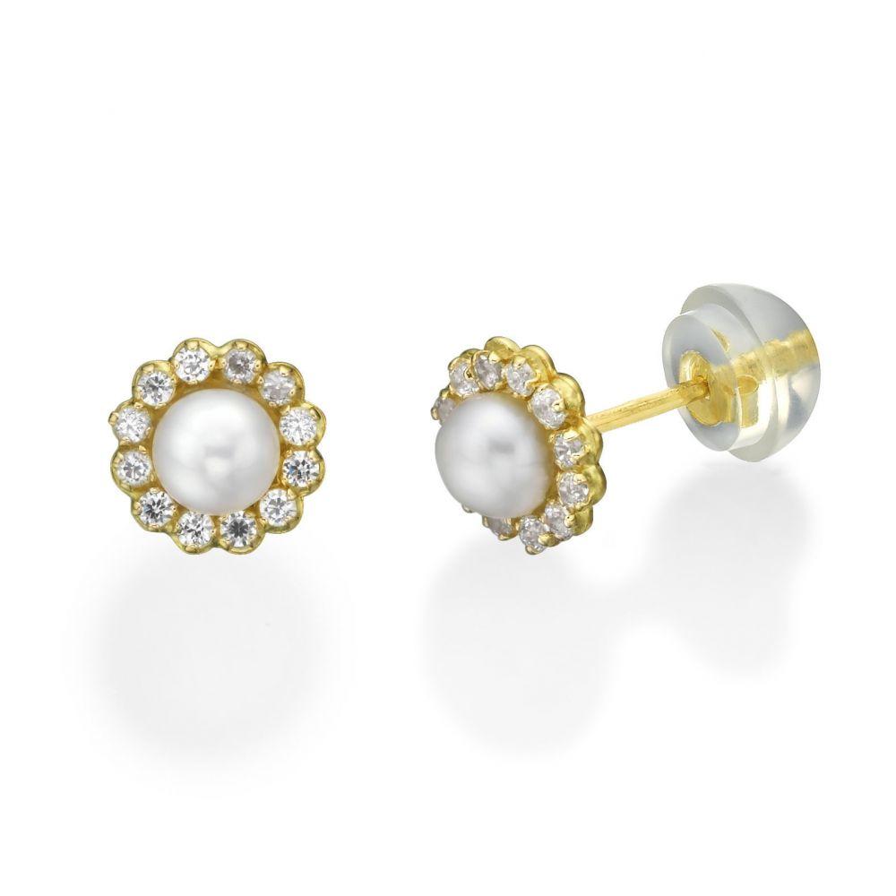 תכשיטים מזהב לילדות | עגילי זהב צמודים -  פנינה מנצנץ