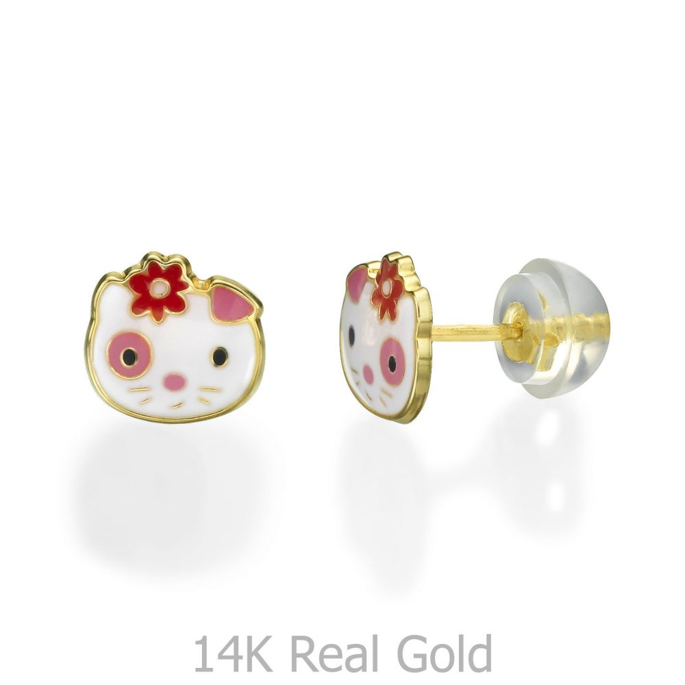 תכשיטים מזהב לילדות   עגילי זהב צמודים -  בובה אביבית