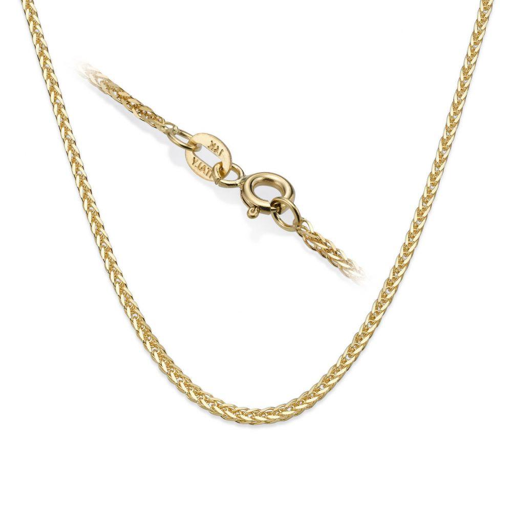 שרשראות זהב | שרשרת ספיגה זהב צהוב - צמה ענוגה, 1 מ