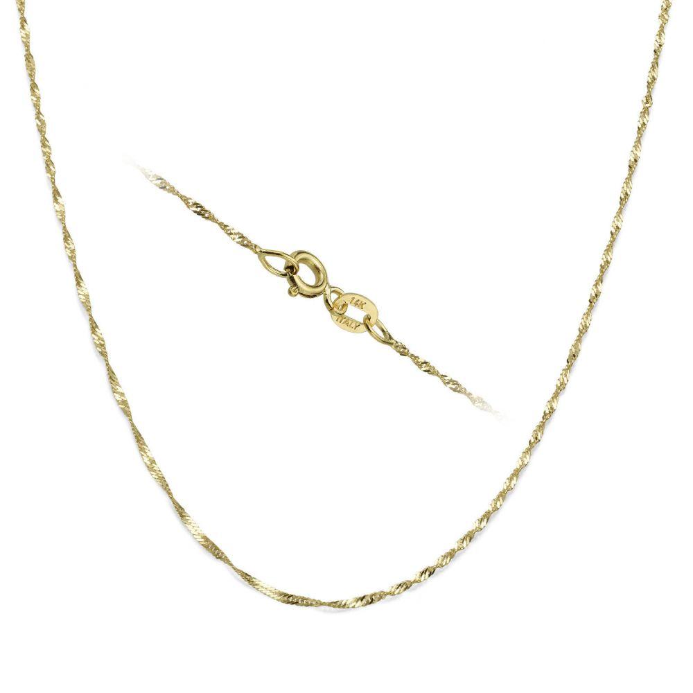 שרשראות זהב   שרשרת סינגפור זהב צהוב 1.6 מ