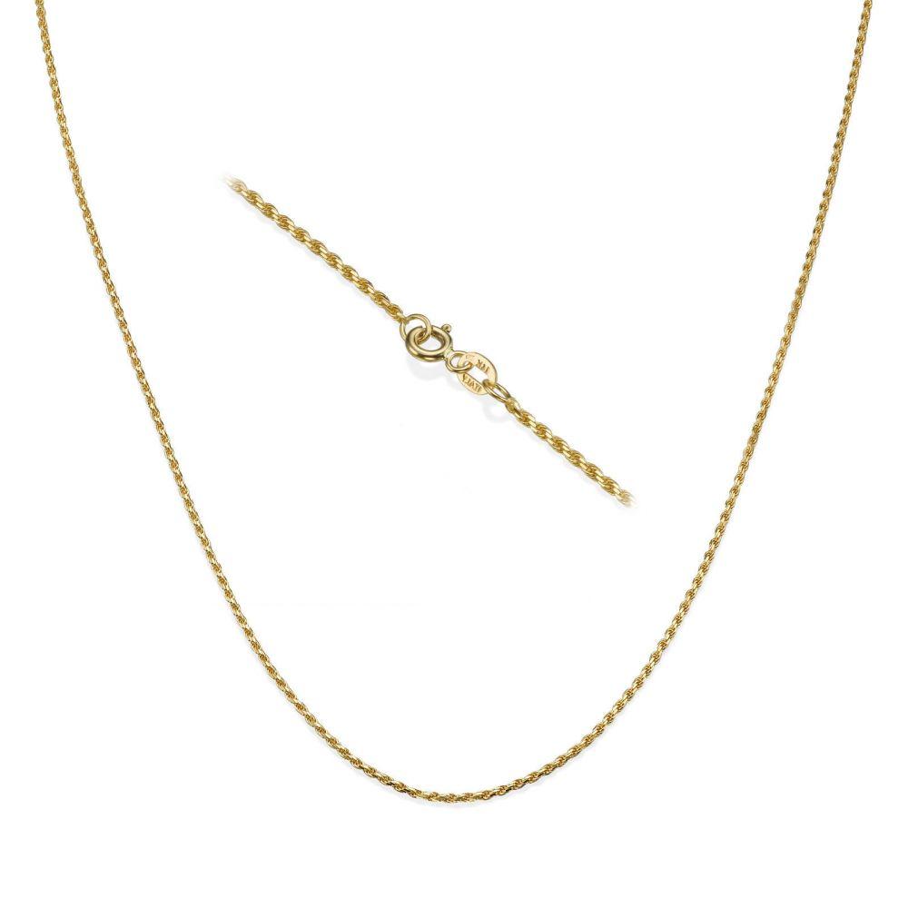 שרשראות זהב | שרשרת חבל זהב צהוב - חבלי אהבה, 1.4 מ