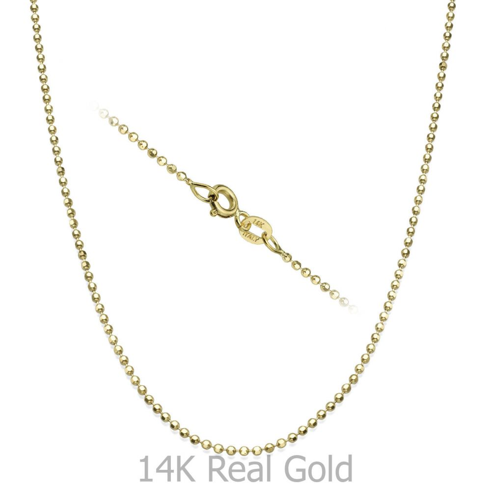 שרשראות זהב | שרשרת כדורים זהב צהוב 1.4 מ