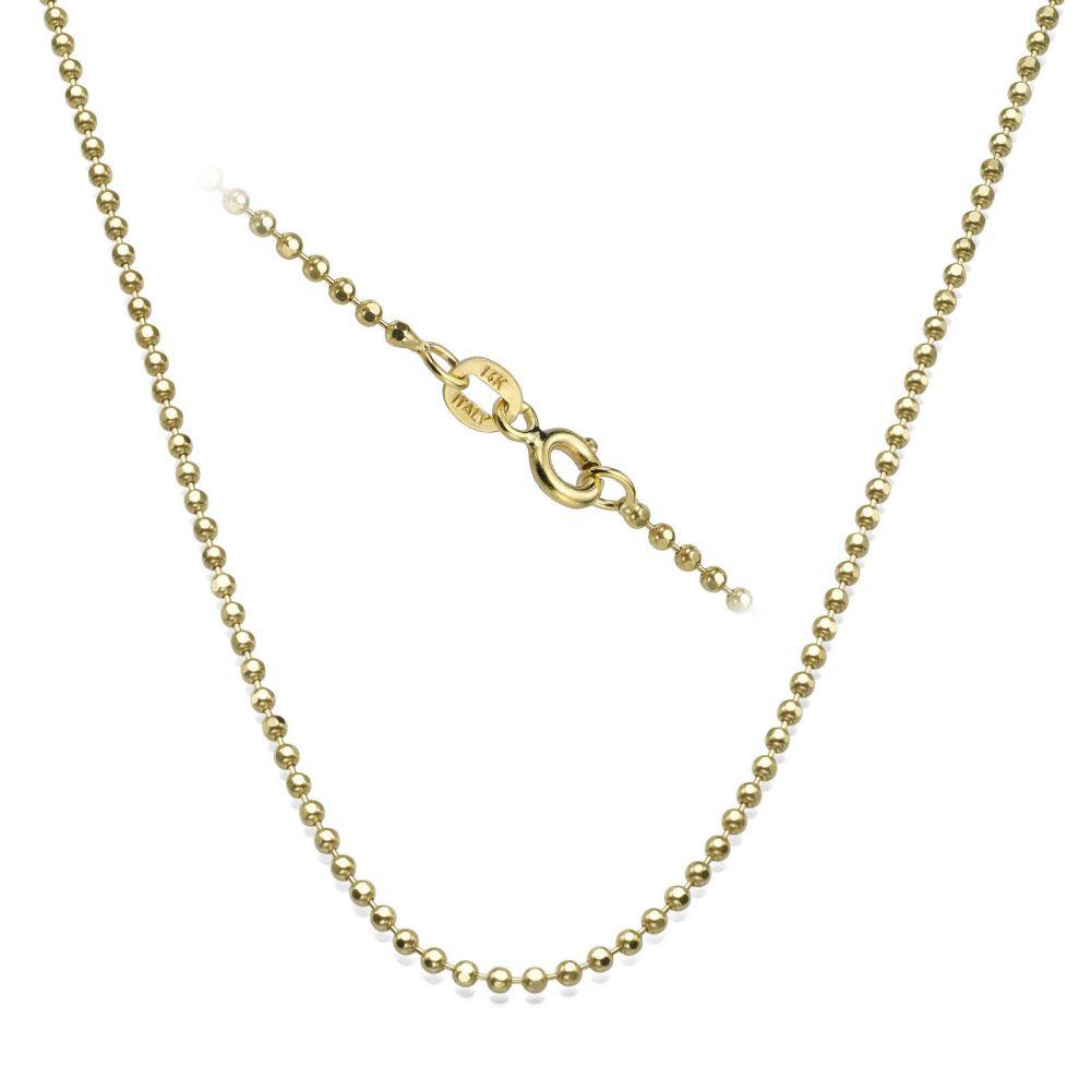 שרשראות זהב | שרשרת כדורים זהב צהוב 1.8 מ