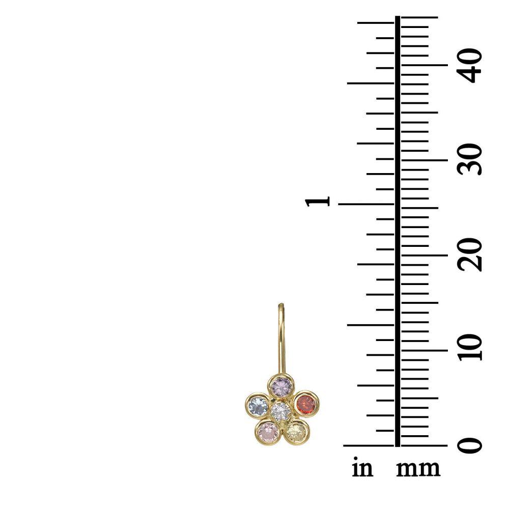 עגילי זהב | עגילי זהב תלויים - פרח מיכלי