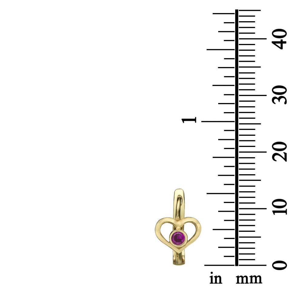 עגילי זהב | עגילי חישוק תלויים מזהב - לב אדמונית