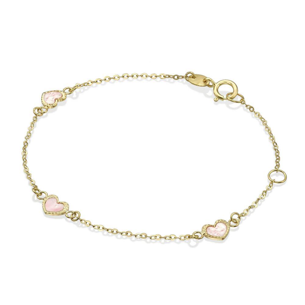 תכשיטים מזהב לילדות | צמיד זהב לילדה - לבבות אם הפנינה - ורוד