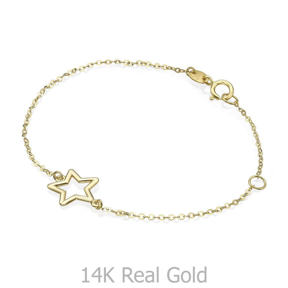 תכשיטים מזהב לילדות | צמיד זהב לילדה - כוכבי זוהר