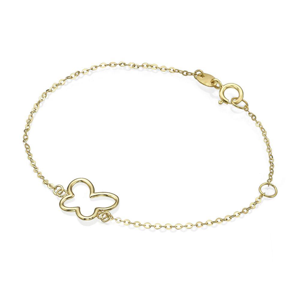 תכשיטים מזהב לילדות   צמיד זהב לילדה - פרפר זוהר