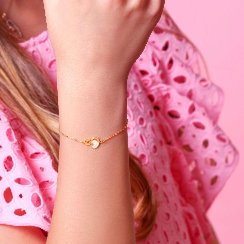 תכשיטים מזהב לילדות | צמיד זהב לילדה - לב הברבור