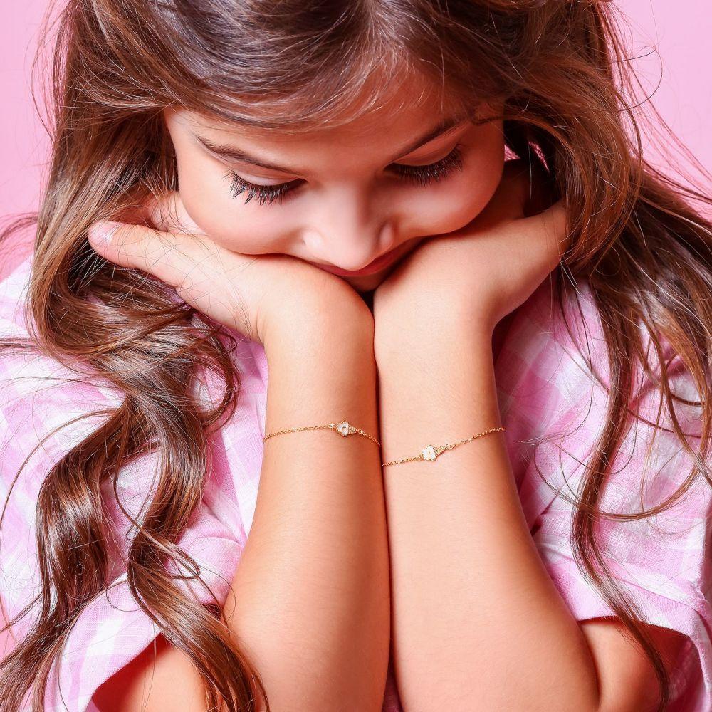 תכשיטים מזהב לילדות | צמיד זהב לילדה - גלידת וניל