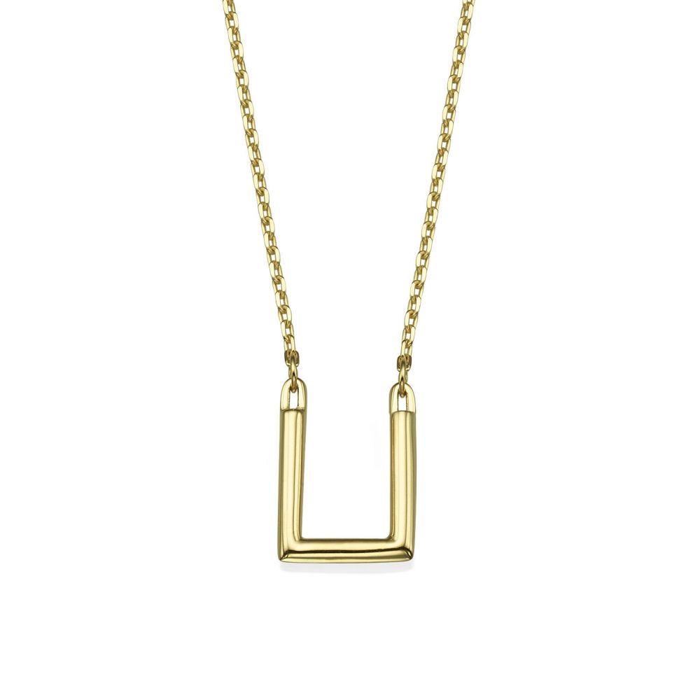 תכשיטי זהב לנשים   תליון ושרשרת מזהב צהוב 14 קראט - ריבוע הזהב