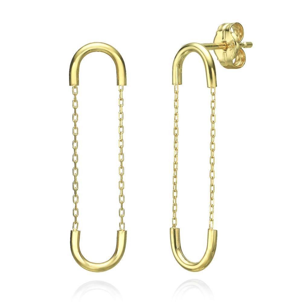 תכשיטי זהב לנשים | עגילים תלויים ארוכים מזהב צהוב 14 קראט - חוליות אקספנדר