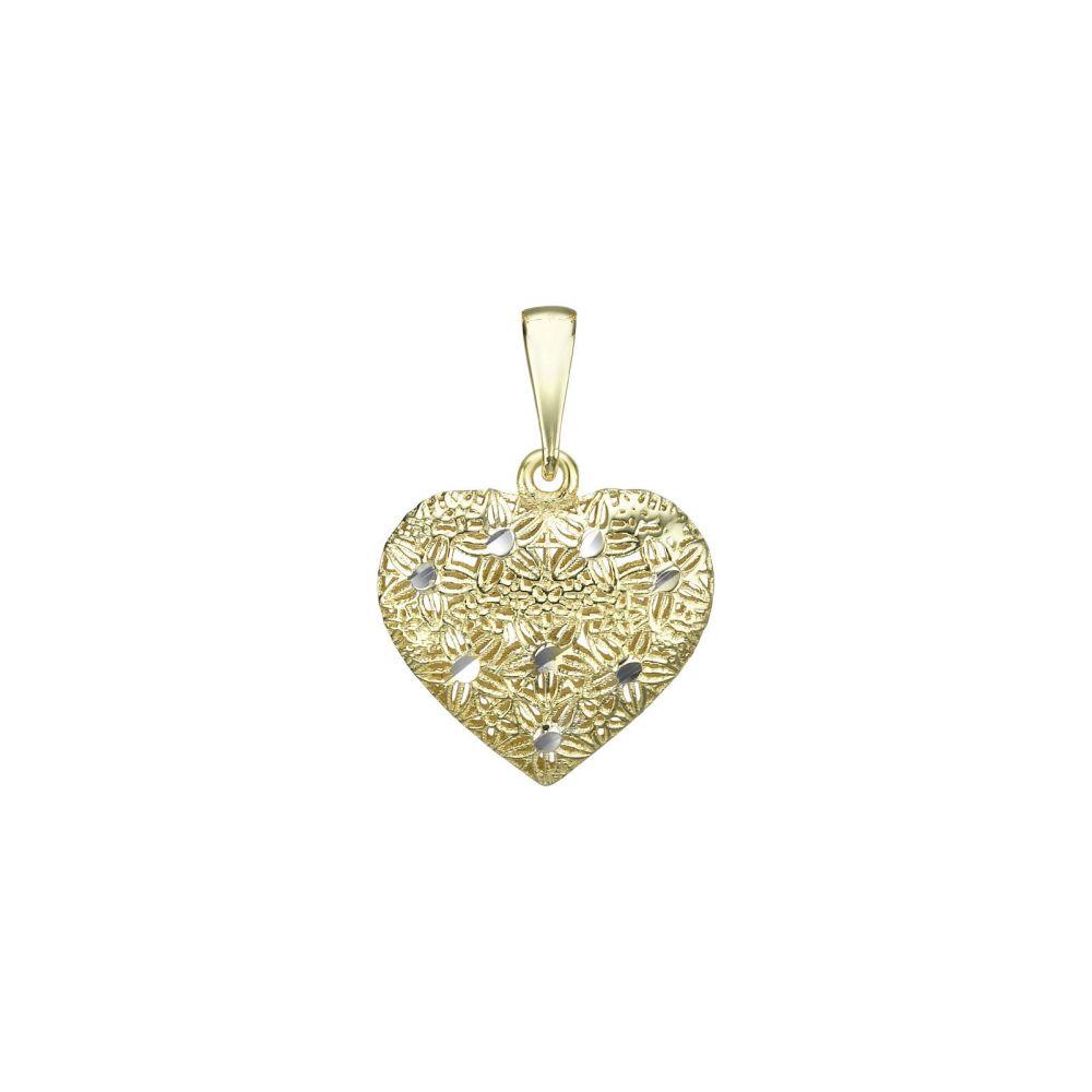 תכשיטי זהב לנשים | תליון זהב- לב רקום