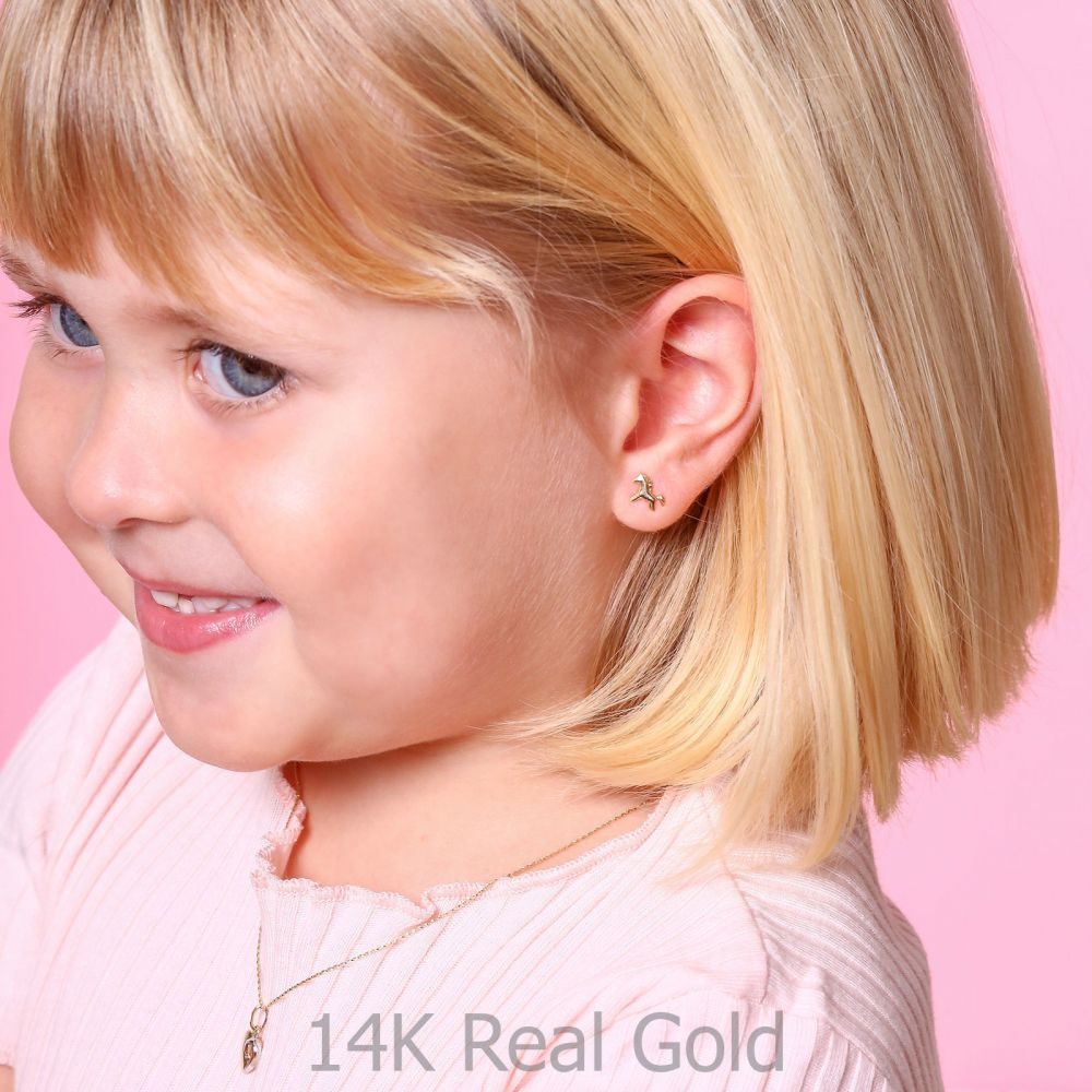 תכשיטים מזהב לילדות | עגילי זהב צמודים -  סוס פוני