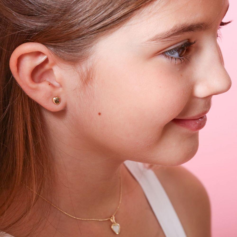 תכשיטים מזהב לילדות | עגילי זהב צמודים -  לב מרגש