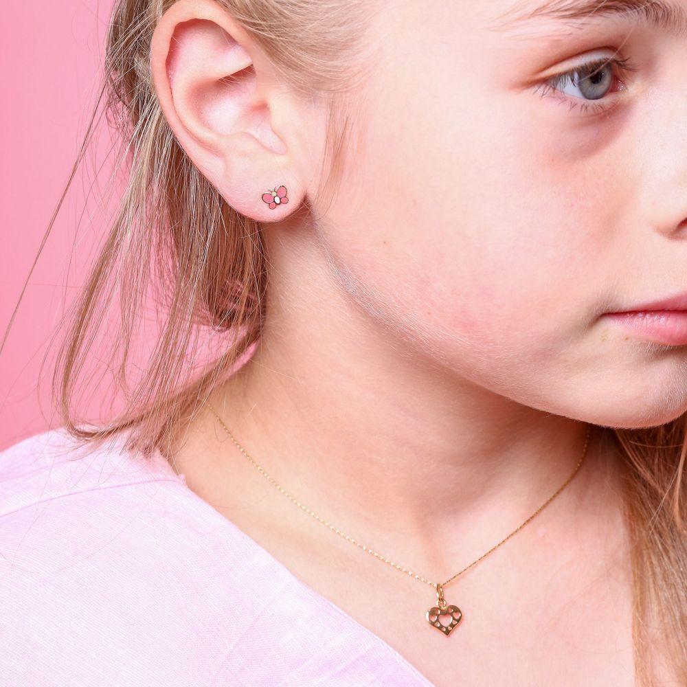 תכשיטים מזהב לילדות | עגילי זהב צמודים -  פרפר אופטימי