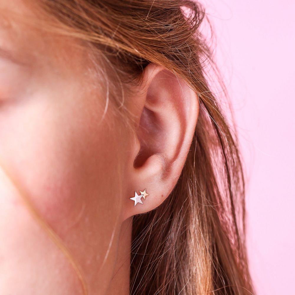 תכשיטים מזהב לילדות | עגילי זהב צמודים -  כוכב בשני צבעים