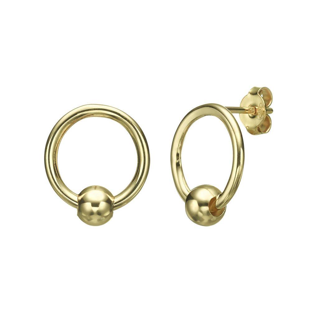 תכשיטי זהב לנשים   עגילים צמודים מזהב צהוב - כדור תחתון