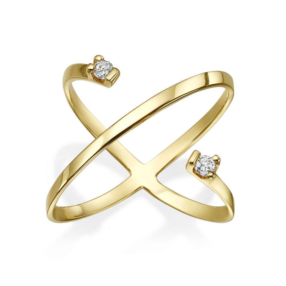 תכשיטי יהלומים   טבעת יהלום מזהב צהוב 14 קראט - וסטה