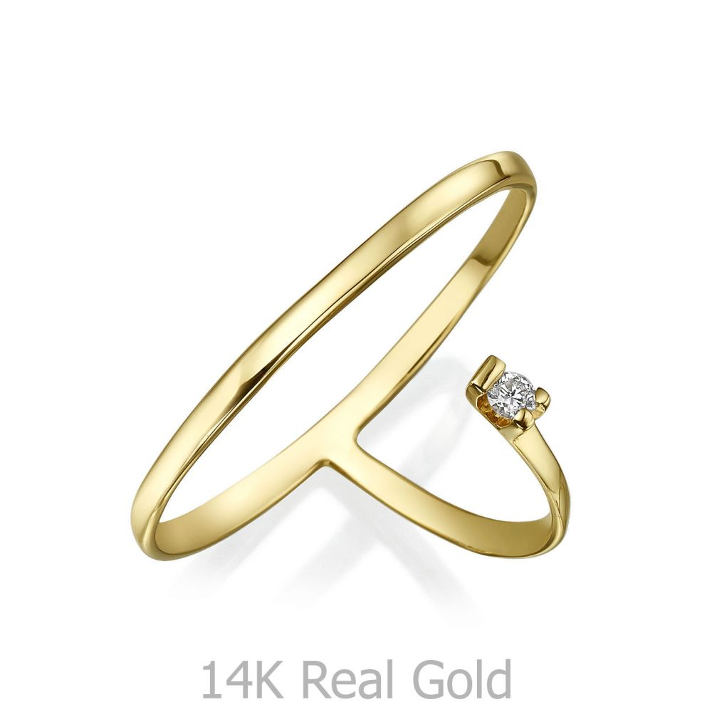 תכשיטי יהלומים   טבעת יהלום מזהב צהוב 14 קראט - פורטונה