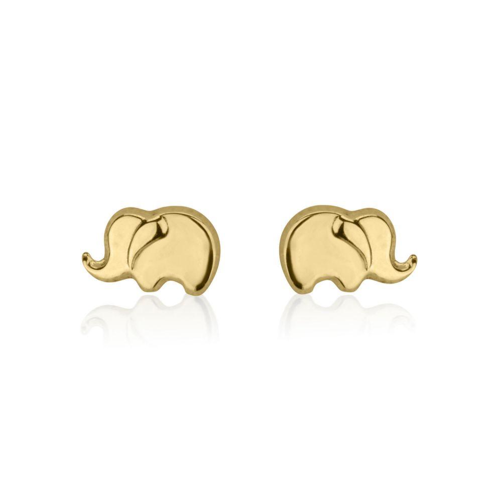 תכשיטים מזהב לילדות | עגילים צמודים מזהב צהוב 14 קראט - פיל פילון