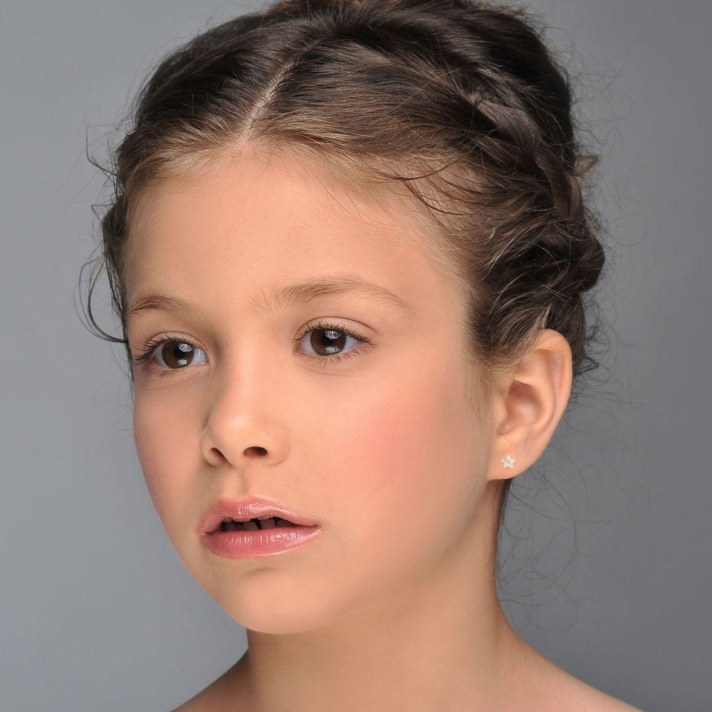 תכשיטים מזהב לילדות | עגילים צמודים מזהב צהוב 14 קראט - כוכב הצפון - קטן