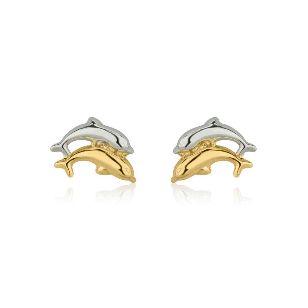 תכשיטים מזהב לילדות | עגילי זהב צמודים - דולפינים מזנקים