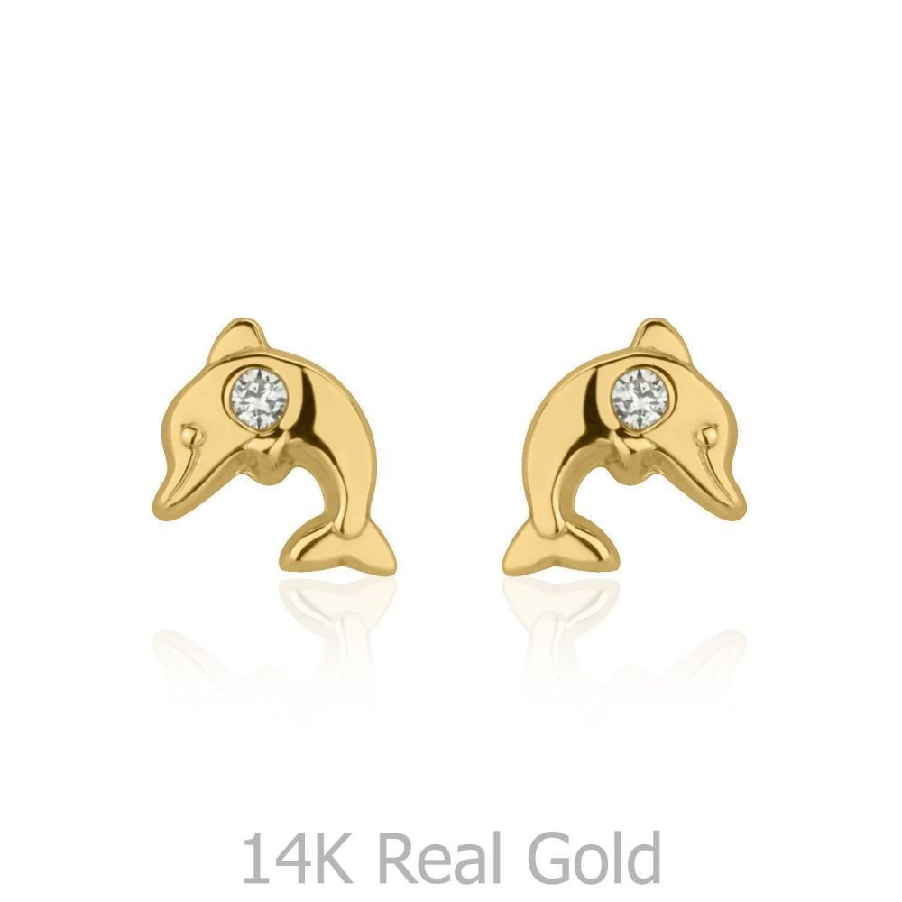 תכשיטים מזהב לילדות | עגילי זהב צמודים -  דולפין מנצנץ