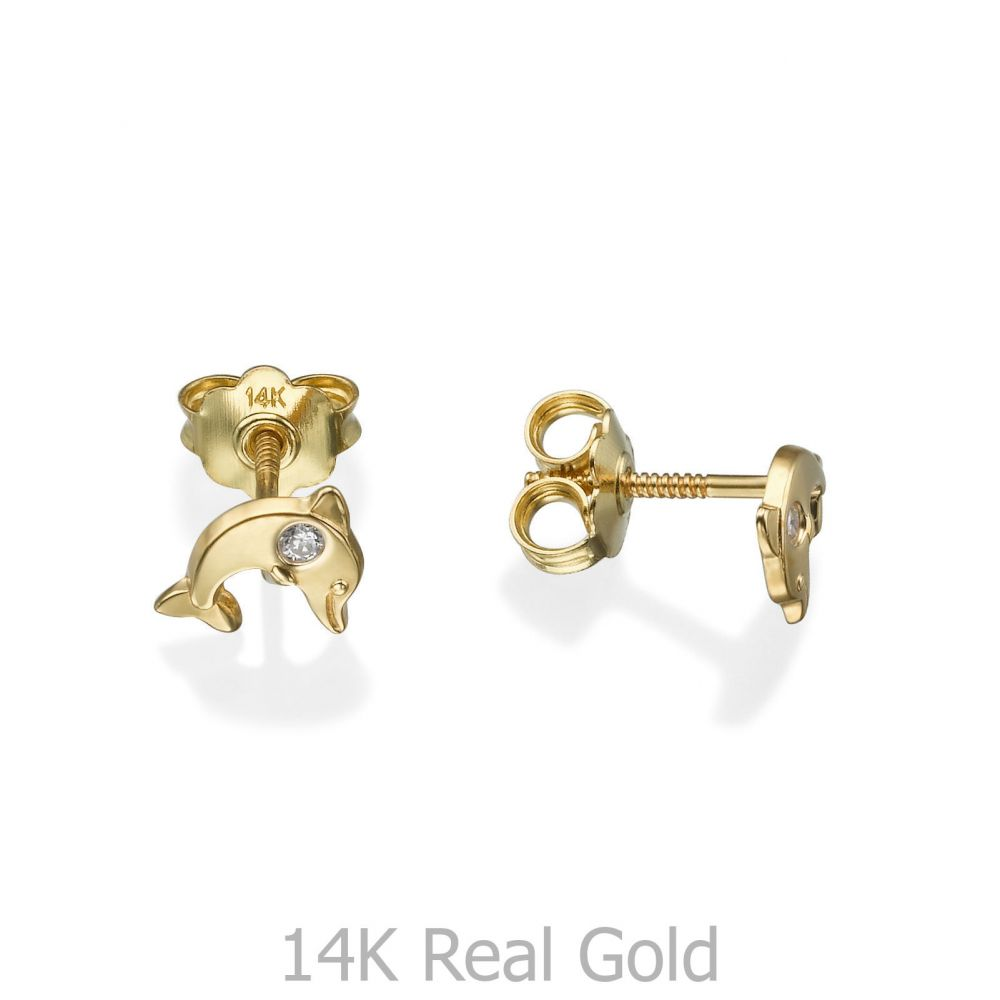 תכשיטים מזהב לילדות | עגילים צמודים מזהב צהוב 14 קראט - דולפין מנצנץ