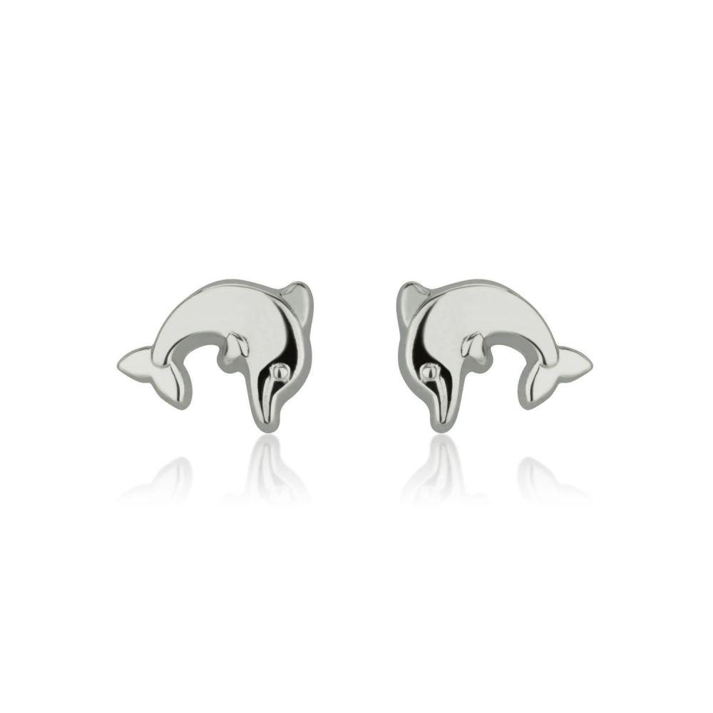 תכשיטים מזהב לילדות | עגילים צמודים מזהב לבן 14 קראט - דולפין מנתר