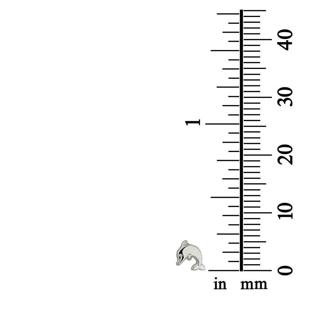 תכשיטים מזהב לילדות | עגילי זהב לבן צמודים -  דולפין מנתר