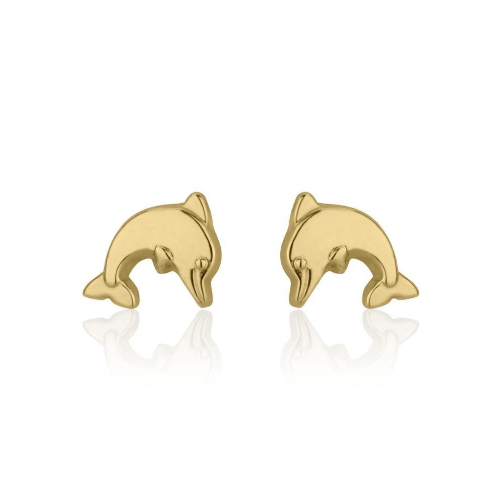 תכשיטים מזהב לילדות | עגילים צמודים מזהב צהוב 14 קראט - דולפין מנתר