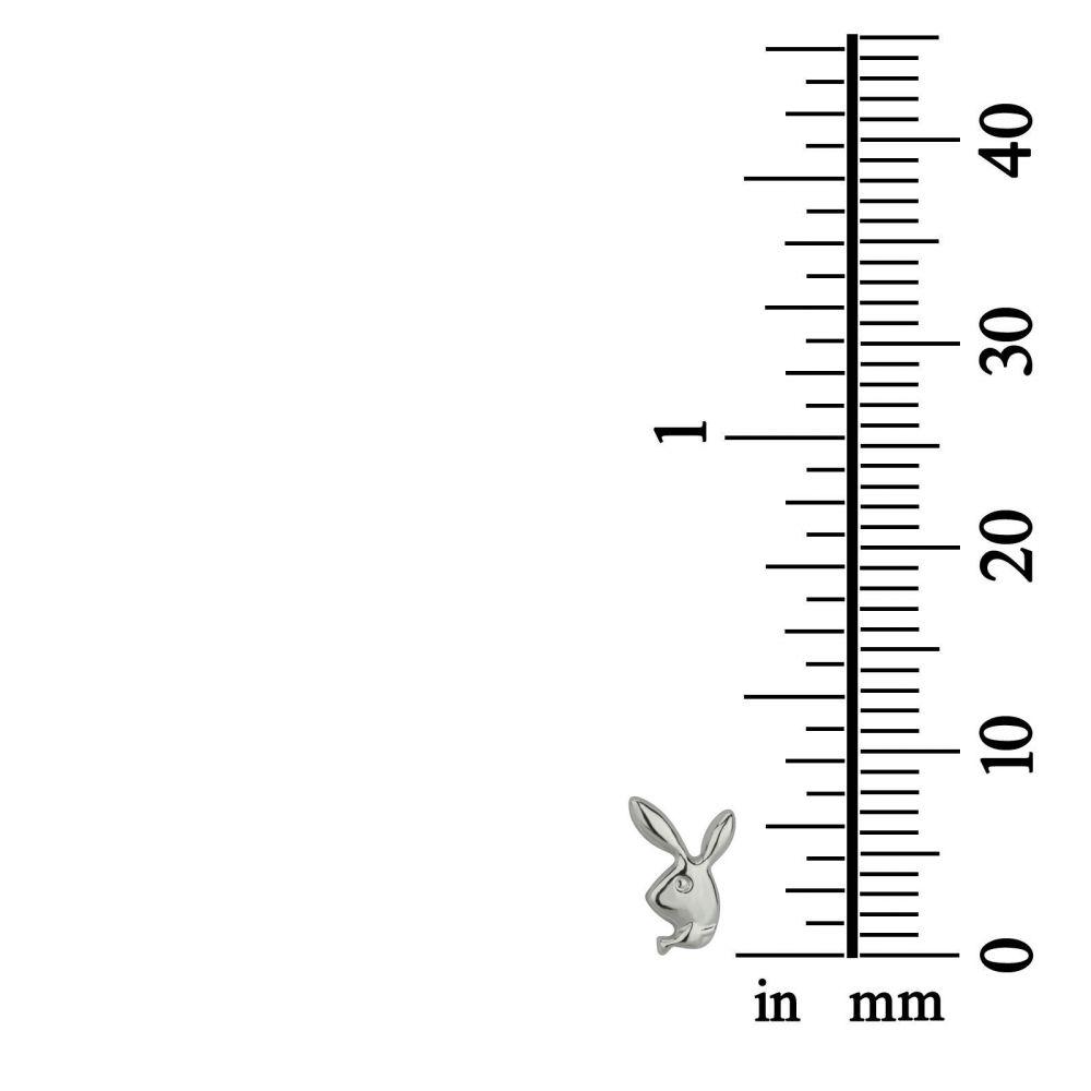 תכשיטים מזהב לילדות | עגילים צמודים מזהב לבן 14 קראט - ארנב מחייך