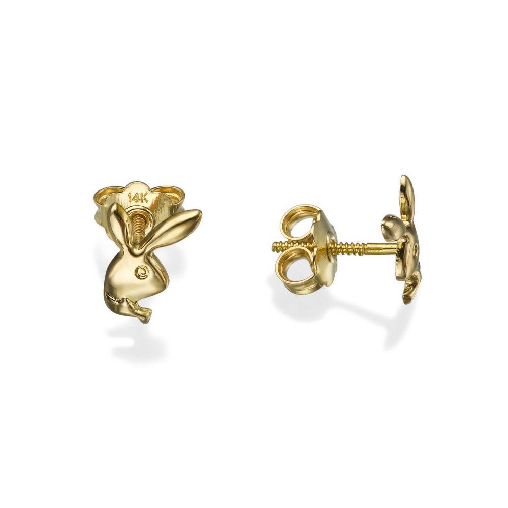 תכשיטים מזהב לילדות | עגילי זהב צמודים -  ארנב מחייך