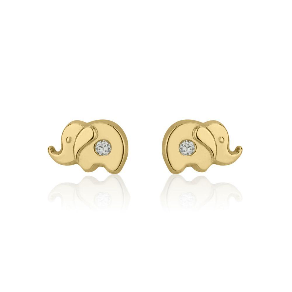 תכשיטים מזהב לילדות | עגילים צמודים מזהב צהוב 14 קראט - פיל מנצנץ