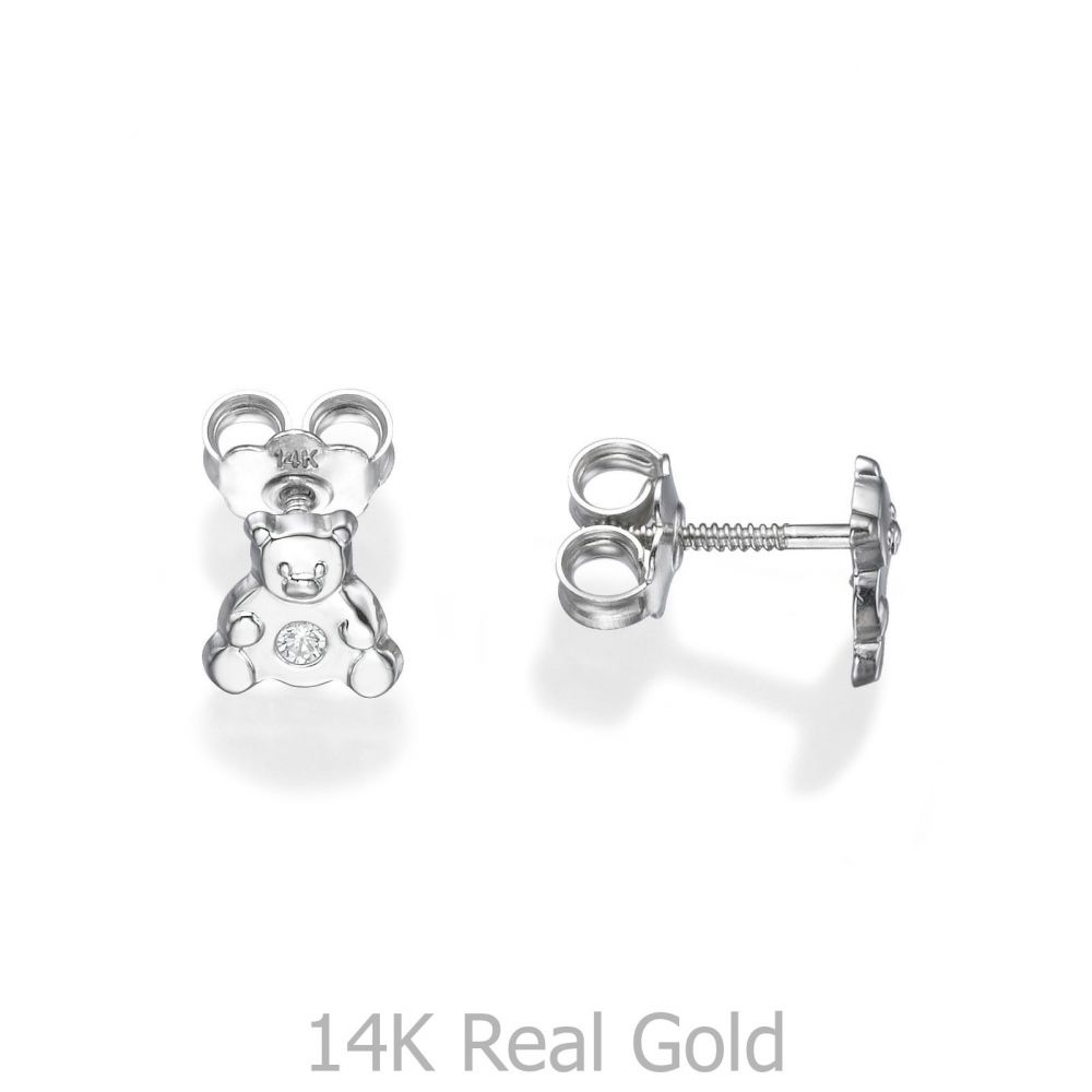 תכשיטים מזהב לילדות | עגילים צמודים מזהב לבן 14 קראט - דובי מנצנץ