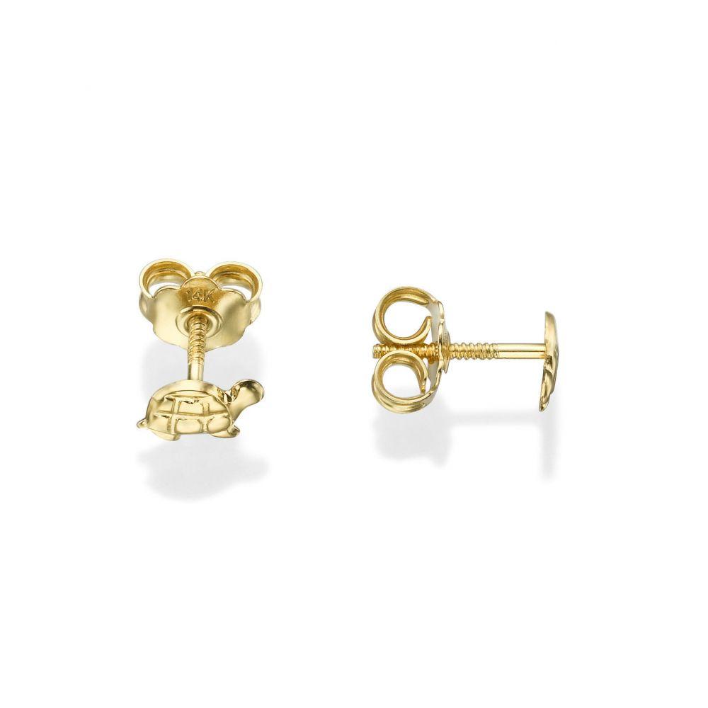 תכשיטים מזהב לילדות | עגילים צמודים מזהב צהוב 14 קראט - צב טבעי