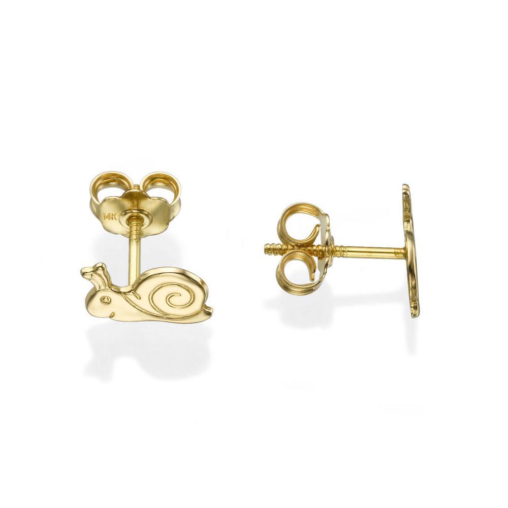 תכשיטים מזהב לילדות | עגילים צמודים מזהב צהוב 14 קראט - שבלול חייכן