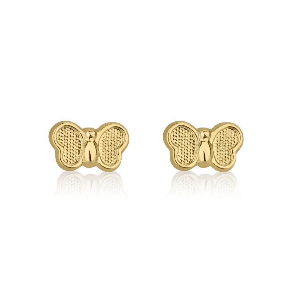 תכשיטים מזהב לילדות | עגילים צמודים מזהב צהוב 14 קראט - פרפר טבעי