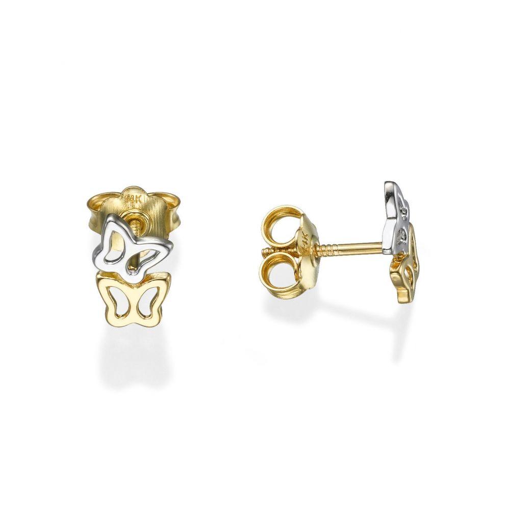 תכשיטים מזהב לילדות | עגילים צמודים מזהב צהוב ולבן 14 קראט - פרפרים שני צבעים